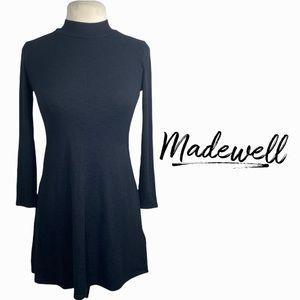 Madewell black mock neck ribbed dress